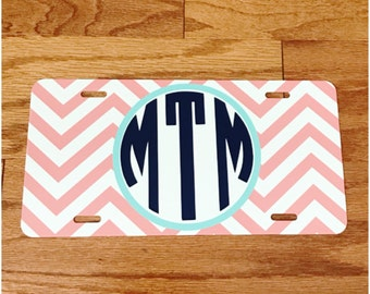 Coral Personalized License Plate - Circle Monogram Alphabet - Monogrammed Vinyl Decal License Plate - Chevron Design - Car Front Plate Tag