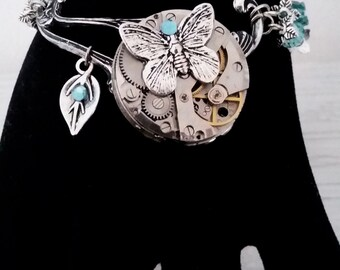The blue butterfly steampunk bracelet