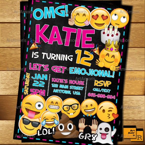 Emoji Invitation Emoji Birthday Invitation Teen Birthday