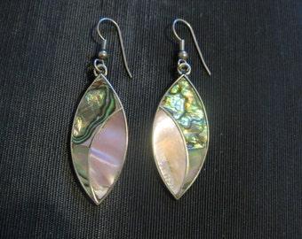Abalone jewelry earrings, Green Paua Abalone Shell Jewelry, mother of pearl, pierced earrings
