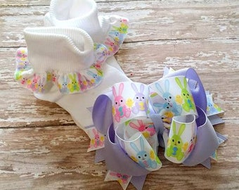 Easter Bow Set..Easter Bow and Sock Set....Bunny Hair Bow..Bunny Socks...Easter Set...Girls Hair Bow..Easter Hair Bow...Bunny Bow Set