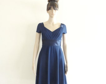 Navy Blue Bridesmaid Dress. Knee Length Dress. Dress With Sleeves.