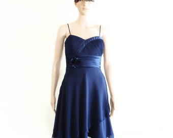 Navy Blue Bridesmaid Dress. Navy Blue Evening Dress. Short Chiffon Dress. Knee Length Dress.