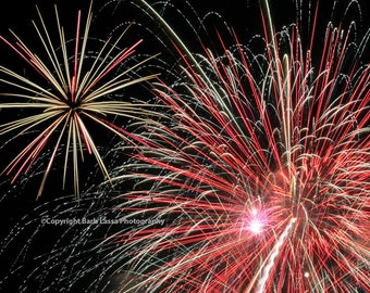 Fireworks, Fourth of July, Fine Art, Photography, Red, White, Black, Night Sky,