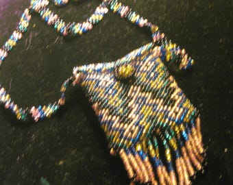 24 Inch Peyote Stitch Beaded Necklace with Pouch, Chevron Print