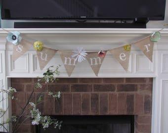 Summer Burlap Banner, Home Decor, Party Decor - Paper Flower Accents