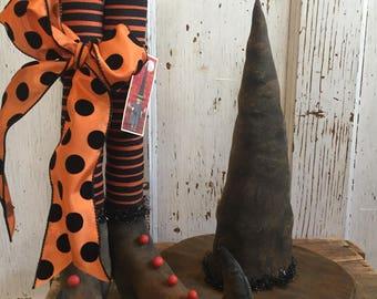 "Primitive Folk Art ~16"" tall Witch Boots ~Orange & Black Striped Stockings w/Witch Hat Set~Harfair Team"