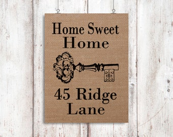 Home Sweet Home Burlap Address Print - House Warming Gift - Burlap Home Decor - Our First Home, New Home Sign, Welcome Sign