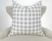 Ecru Plaid Pillow Cover -MANY SIZES- Check Pattern, Gingham Pillow, Euro Sham, Off-White Decorative Throw, Ecru Buffalo by Premier Prints