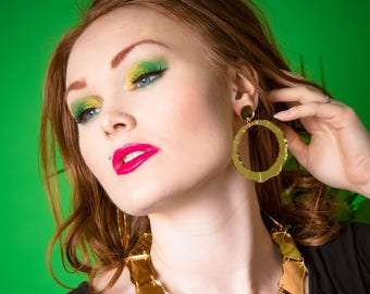 Bamboo earrings - laser cut gold acrylic