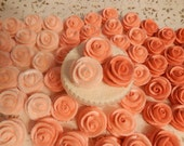 24  Coral Royal Icing Roses Edible For Cakes,Cupcakes,Cookies, Cakepops