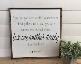 1 Peter 1:22 Scripture on Wood