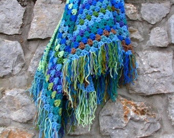 Crochet shawl , colorful, triangle - boho hippie tribal style - gift for her