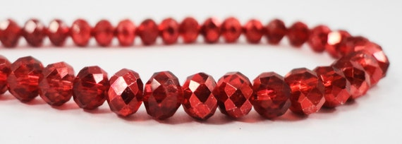 "Red Fire Polished Beads 6x4mm Half Transparent Red 1/2 Metallic Red Rondelle Crystal Beads, Crystal Glass Beads on a 9"" Strand with 50 Beads"