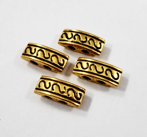 Gold Two Hole Beads 10x4mm Antique Gold Metal Beads, Bar Beads, 2 Hole Spacer Beads for Jewelry Making, Beading Supplies, 24 Loose Beads