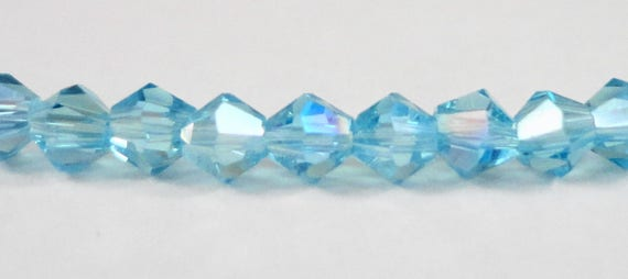Turquoise Crystal Beads, 3mm Bicone Crystal Beads, Turquoise Blue AB Crystal Bicone Beads, Tiny Faceted Chinese Crystal Glass Beads, 100pcs