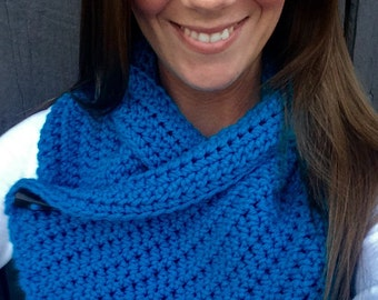 Crochet Blue One Button Wrap