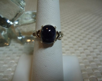 Reserved for Nav - Oval Cabochon Sapphire Ring in Sterling Silver  #1880