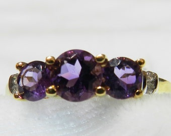 Three Stone Ring Amethyst Ring 14K Gold amethyst engagement ring Diamond Three Stone Ring Engagement February Birthday Gift for Women