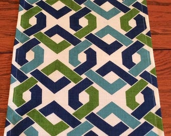 Table Runner - Indoor/Outdoor -Blue and Green  Diamond Shape Design - Handmade