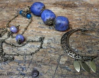 "Boho Chic ""April Moon"" Long Necklace / Celestial Style / Jade Beads / Czech Crystal / Polymère"