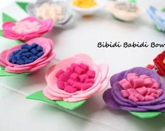 SALE ---Felt flower hair clip or headband- You can choose the color- Baby girl headband- Toddler headband- Hair accessory- Birthday gift