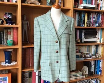 Vintage Ralph Lauren Equestrian Jacket, Ralph Lauren Ladies Wool Jacket, Plaid Wool Blazer, Mint Condition