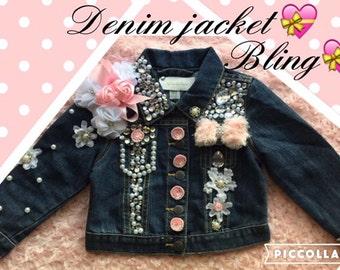 Girls Denim*Denim Jacket*Infants Jacket*Toddler Jacket*Denim Custom*Beauty Pageant*Jean Jacket*Bling Jean Jacket*Girls Jean Jacket*