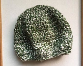 SLOUCHY TAM // Crocheted Slouchy Tam // Green and Beige // Accessories // Handmade Knitwear
