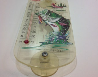 Vintage Temperture Guage with Bass Fishing Sticker J. C. Walden 1994