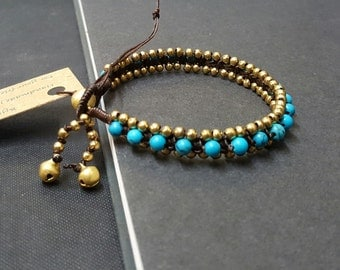 Blue  Howlite Brass Bead  Bracelet
