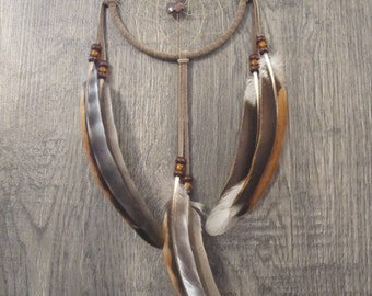 Dream Catcher Taupe Suede with Rooster Wing Feathers ~ Cruelty Free