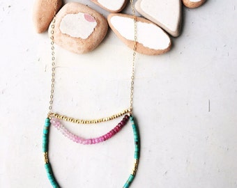 14k gf sparkly chain with Turquoise and Ruby.