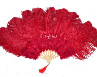 """24""""x 43"""" burgundy Marabou & Ostrich Feathers Hand Fan With Bamboo Staves Burlesque Dance"""