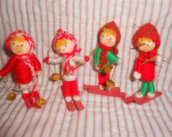 Four Vintage Skier Christmas Ornaments