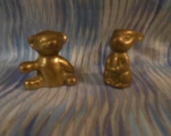 Two Miniature Brass Figures- Bear and Rabbit