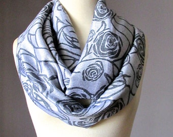 Infinity Scarf , grey scarf, Floral, pashmina scarf, silver grey scarf