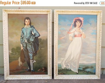 ON SALE Vintage Paint by Number Painting Set Art Work of Pinky and Blue Boy Framed, Cottage Chic Large Paintings
