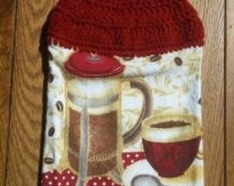 Crochet Top Towel, Hanging Hand Towel, Kitchen Towel, Dish Towel, Coffee Towel, Coffee Themed Towel