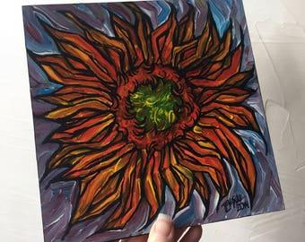 Orange Sunflower original painting