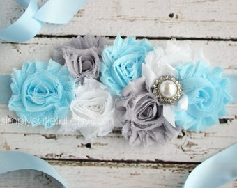 Blue and Gray Maternity Sash - Blue and Gray Baby Shower - Mommy to Be Sash Blue - Maternity Photo Prop - Its a boy Sash - Gray and Blue