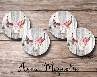 Bull Horns - Boho - Floral Skull - Drink Coasters - Round Coaster Set - Home & Living - Bar Coasters