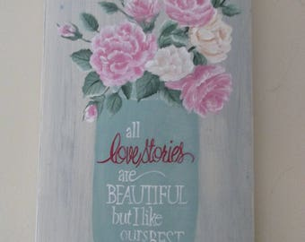 HANDPAINTED WOOD SIGN   Love Stories wedding sign