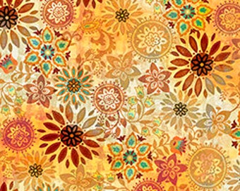 Floral Medallions Fabric by Quilting Treasures Mozambique yardage