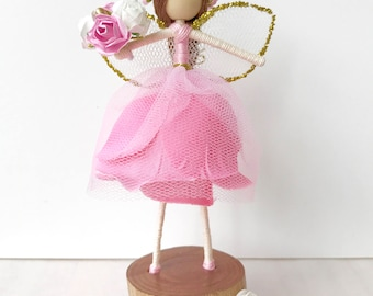 Fairy with Display Stand, Fairy Doll with Display Stand, Fairy on a Display Stand, Fairy Doll on a Display Stand. Wooden Fairy Stand
