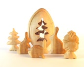 Easter Egg, Wooden Easter Egg with Easter Bunnies carved from Cherry Wood