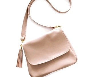 Blush Leather Satchel Crossbody Bag