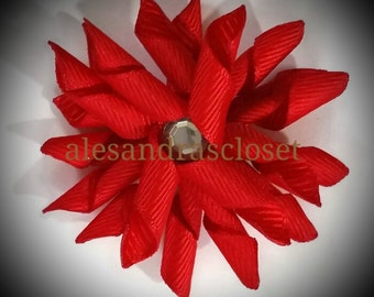 Set Of Two 2 Inch Red Curly Korker Hair Bows Girls Teen Toddler Infant Bows Everyday Simple Colorful Custom Party Gift Photo Hair Bows