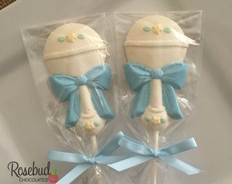 Baby Shower Favors Chocolate Baby Rattle Lollipops Dessert Table Candy Birthday Party Boy Girl Bow