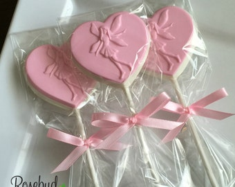 12 Chocolate Fairy Heart Shaped Lollipop Favors